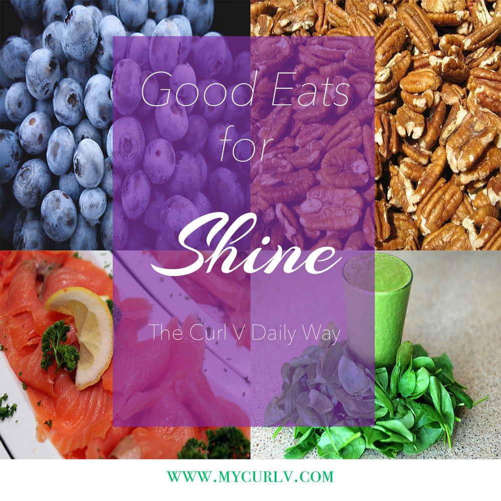 Foods rich in antioxidants and omegas like blueberries, nuts and salmon are great for lush, shiny hair.