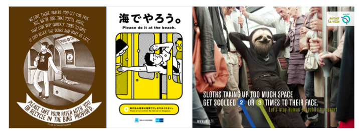Example etiquette posters urging riders not to litter in London, hold the doors in Tokyo, and take up too much space in Paris.