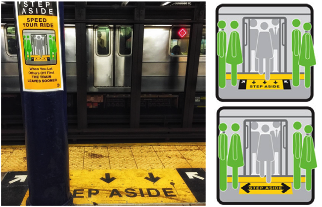 The left photo was taken a month ago at the 51st street stop on the 6 train. A similar nudge can be found at 59th street, shown in the bottom right graphic.
