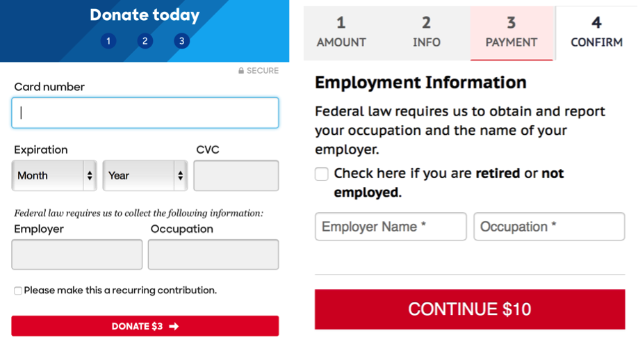 Left : The payment screen of Clinton's donation page.  Right : The payment screen of Trump's donation page.