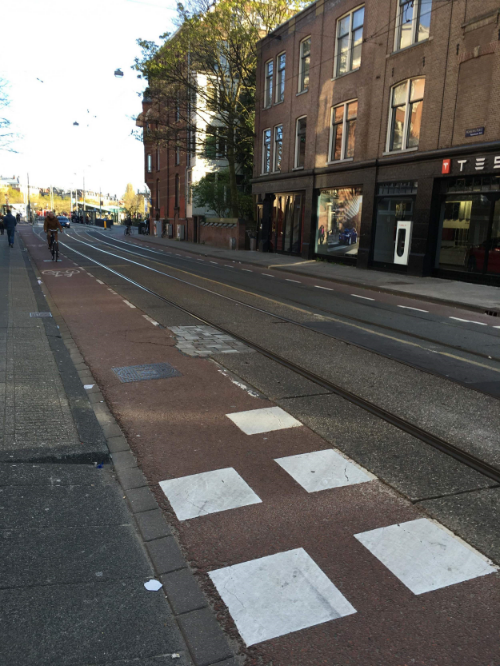 Picture 4. This cycle path's distinct coloring helps to demarcate the area of the road just for bikers.