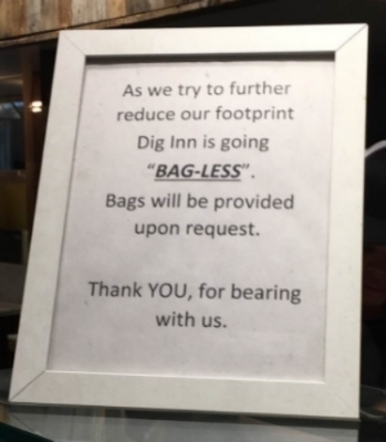 Dig Inn switched their default to bagless, a move that is sure to reduce bag usage.