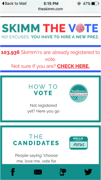 The  Skimm  leverages social proof to encourage its readers to register and vote.