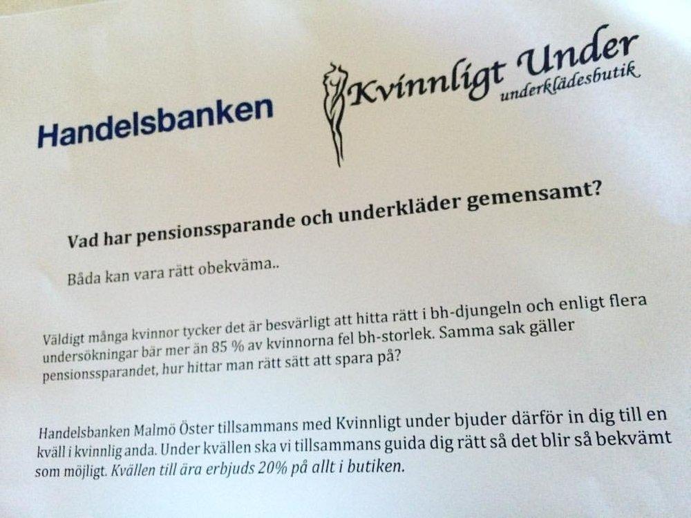 Handelsbanken Malmö Östers inbjudan till information om pension i kombination med BH-provning.