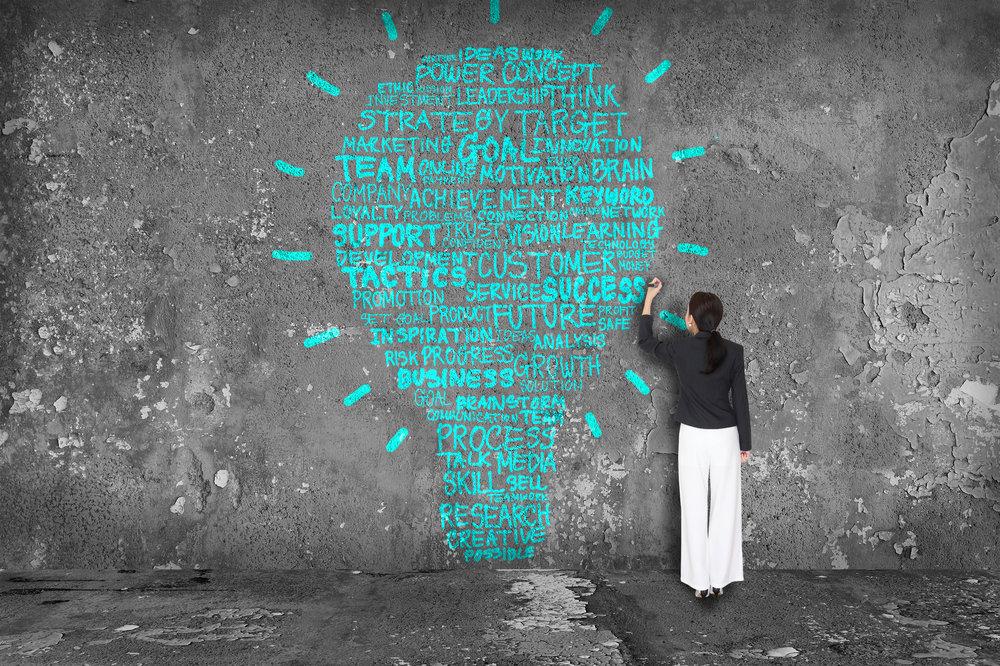 En kvinna skriver på en grå vägg. På väggen syns text med ors som team, goal, future. Texten formar en glödlampa.