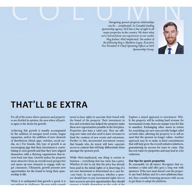 S&E EVP and COO Matthew Logue published in European #sportbiz magazine - Sporto