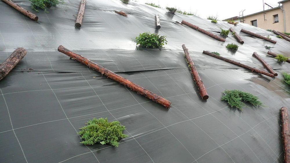 Nevhodným řešením pro záhon jsou netkané mulčovací textilie/ plachetky a to zejména na svazích, kde je třeba zapojit výsadbu tak, aby podržela svah a celkově ho zpevnila. Plachetka zamezuje přirozené zakořeňování rostlin výhony, které byste naopak uvítali. Ve chvíli, kdy se takovýto svah zamulčuje, nastanou problémy se sesouváním kůry a ucpáváním odtoku. (zdroj foto: relaxzahrada.cz)