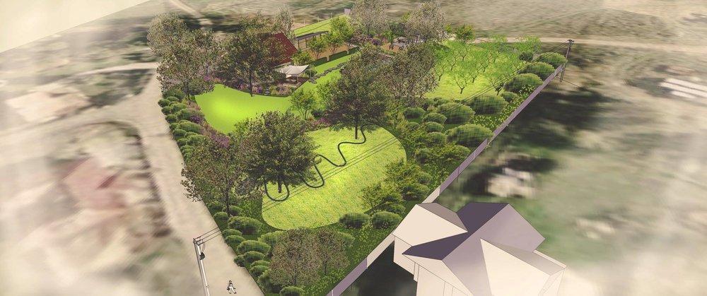 Při úpravě stávající zahrady pomůže krajinářský architekt nastavit nový koncept v souladu se stávajícími stromy a podmínkami. (axonometrie návrhu zahrady)