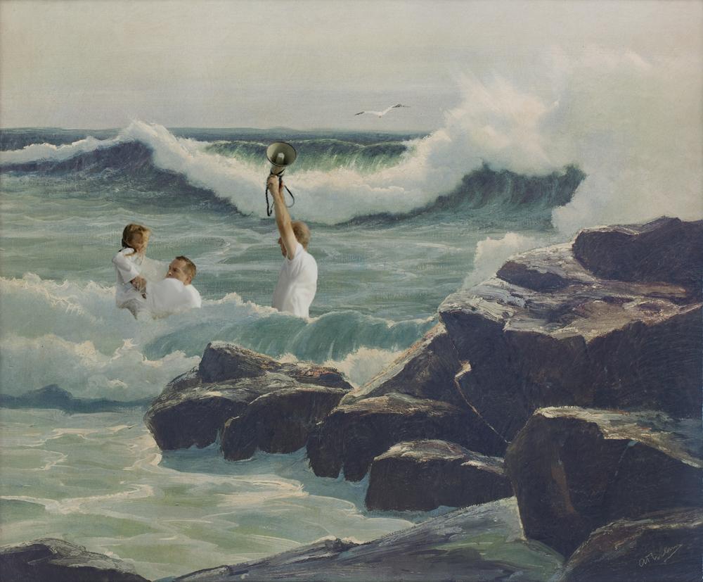 A megaphone and a baptism