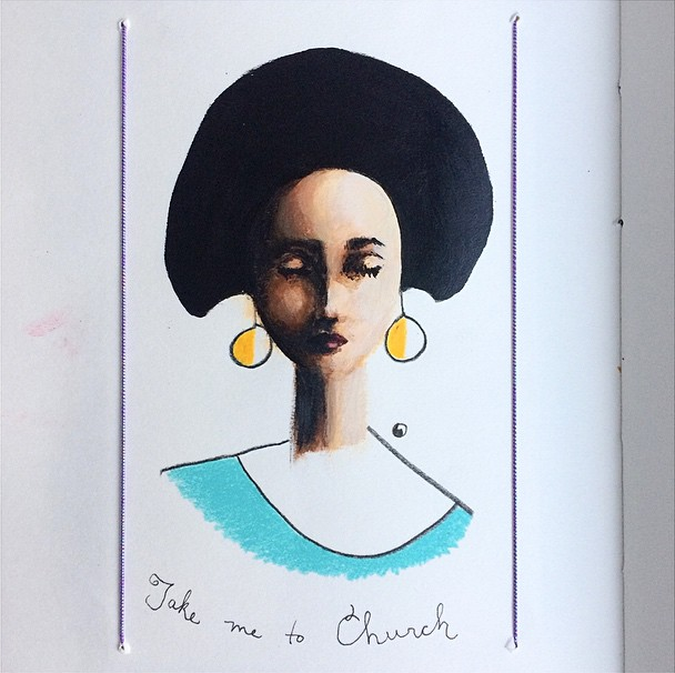 "Day 174/365. The song ""Take Me to Church"" has been stuck in my head for days. Some from-the-mind portrait practice today."