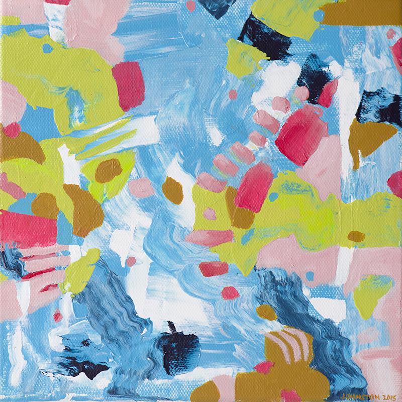 "Laura Johnston A Never-Ending Joke About Oatmeal 8x8"" acrylic on canvas 2015"