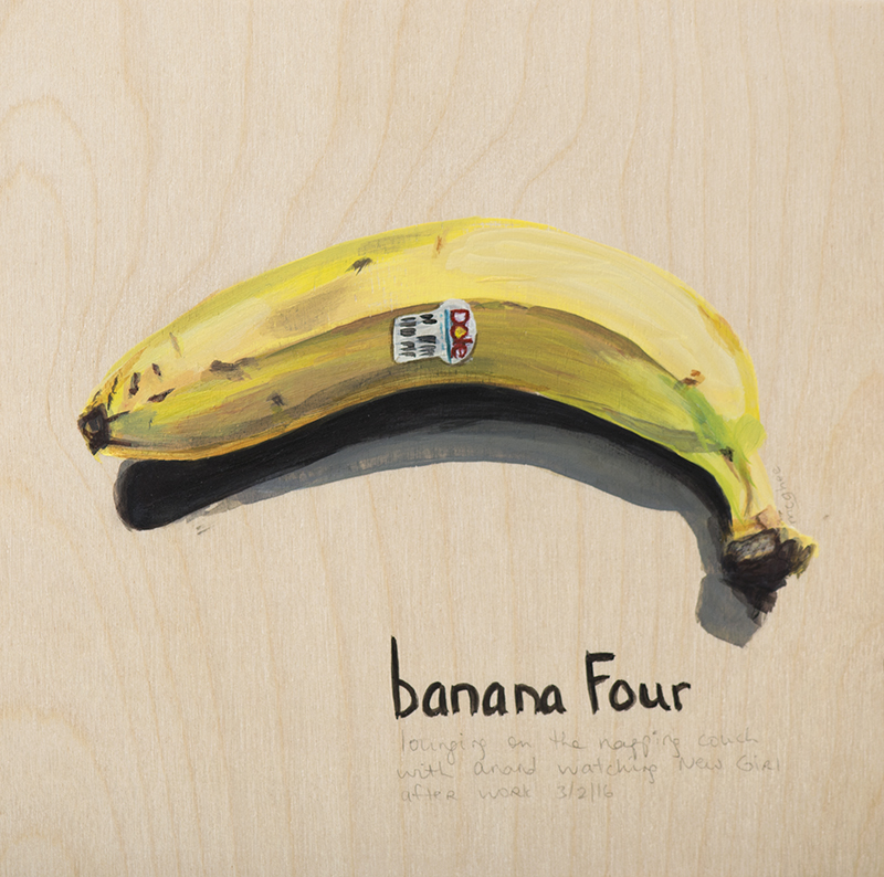 "Laura Johnston Banana Four 8x8"" acrylic on wood 2016"