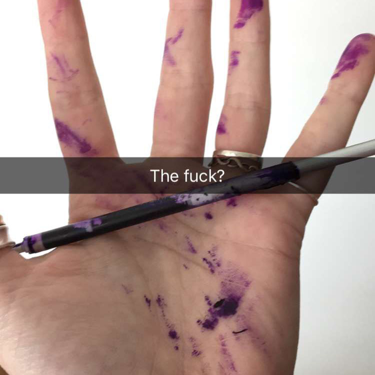 Excuse my language but how this happened is honestly still a mystery to me. The paintbrush was INSIDE the inside of a pen?!
