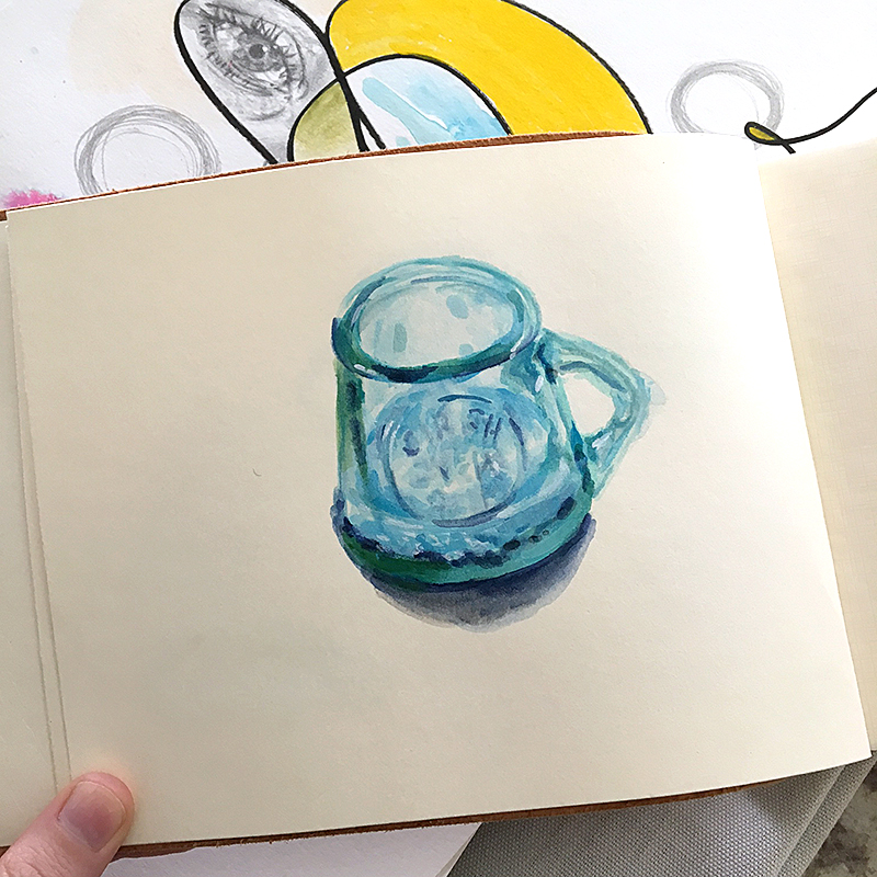 A little water vessel I painted at SoFa Sketch night here in San Jose (hosted by Frances Marin) + a peek of mixed media pieces in the background.
