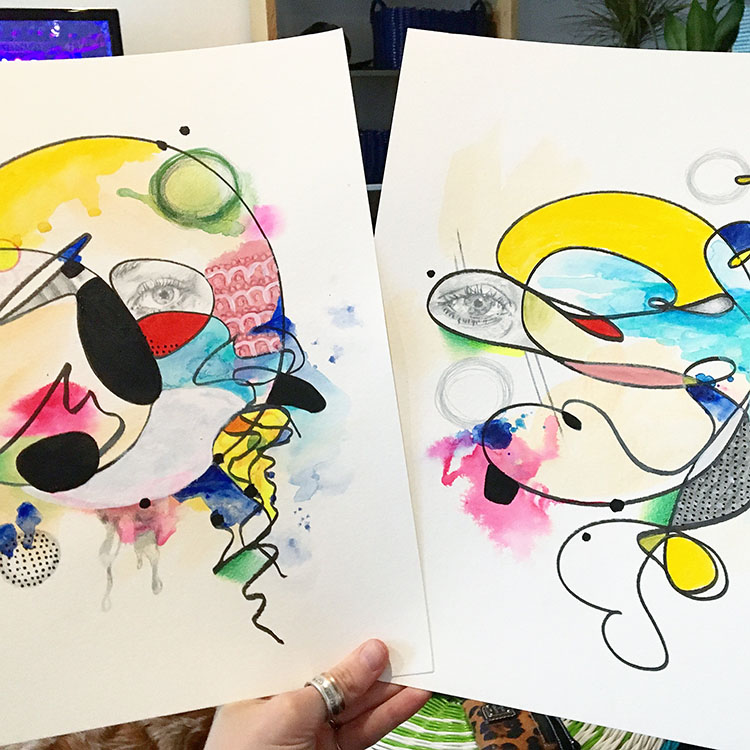 Aforementioned mixed media pieces (in progress).These were started with scribbles I made one frustrated morning earlier this year.