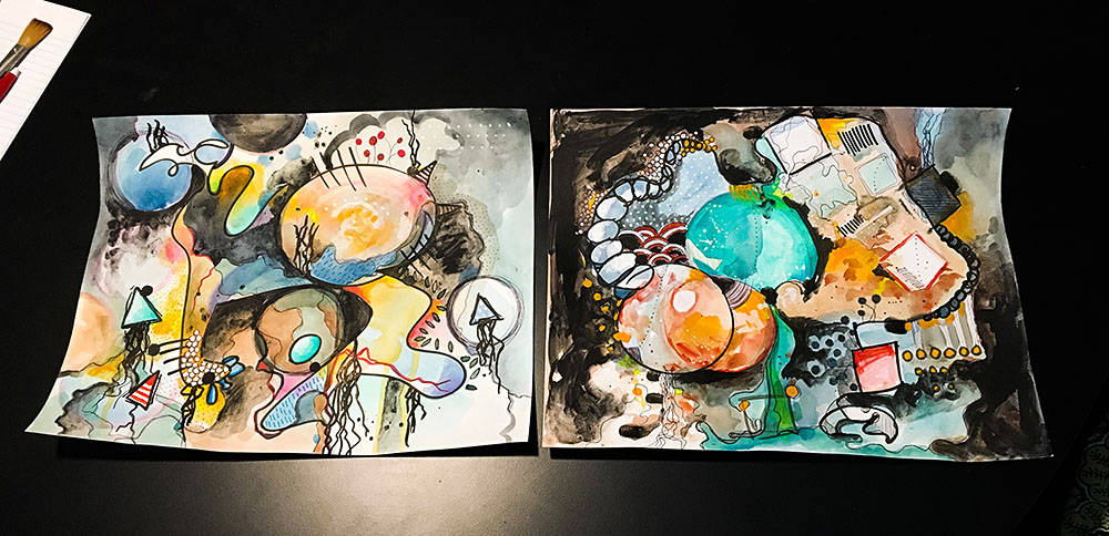 Pieces from a creative free-for-all session a couple of weeks ago with Lucia Dill.