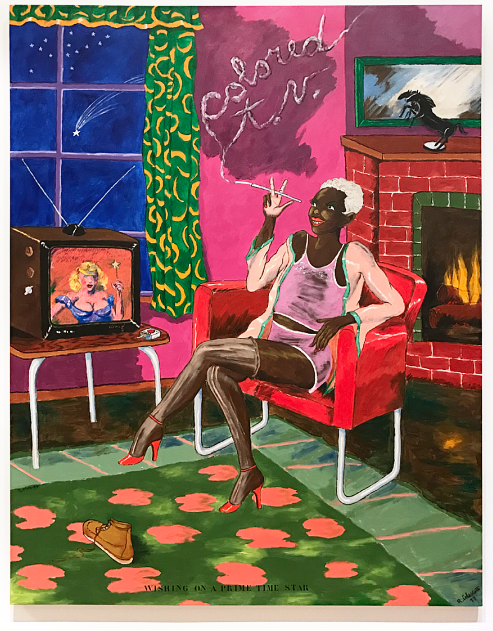 Robert Colescott Colored T.V. Acrylic on Canvas 1977