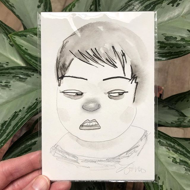 Donna is in line at the buffet and someone just took the last samosa. ⠀⠀⠀⠀⠀⠀⠀⠀⠀ I am going to list some of my remaining #100daysoflovelyladies originals here for a steal, from $100 to just $30+ shipping. DM me if you'd like this one! 💕 ⠀⠀⠀⠀⠀⠀⠀⠀⠀ #hangryproblems #originalart #flashsale #smallart #portraitart #womenartists #buyoriginalart