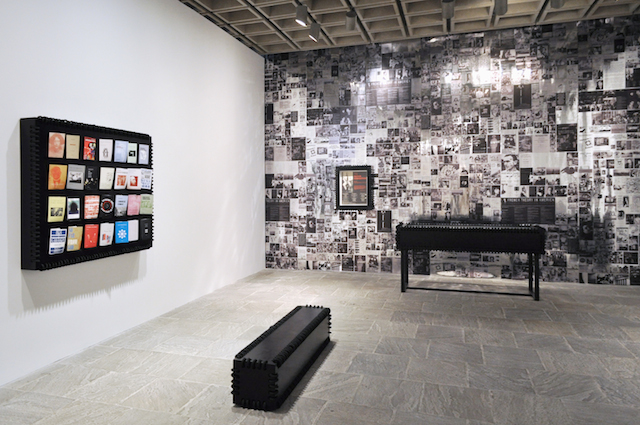 "Installation view, ""Semiotext(e): New Series"" (2014) by' Jason Yates,' Whitney Biennial 2014, Whitney Museum of American Art, New York (collection of Jason Yates Studio, photo by Bill Orcutt)"