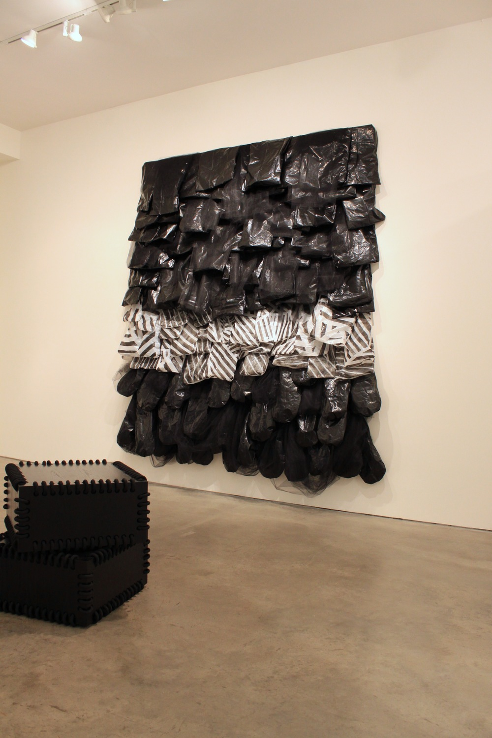 Installation View Snake Pit - 2012 - acrylic site-specific commission Monk Box - 2012 - wood, paint, rope 26 x 26 x 14 in