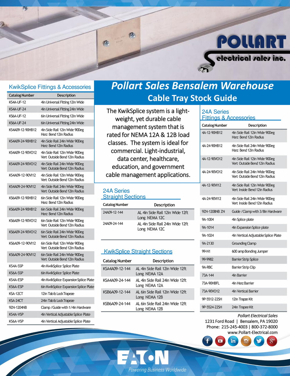 Click here to view and save a copy of the B-Line Cable Tray Stocked in our Bensalem Warehouse! -