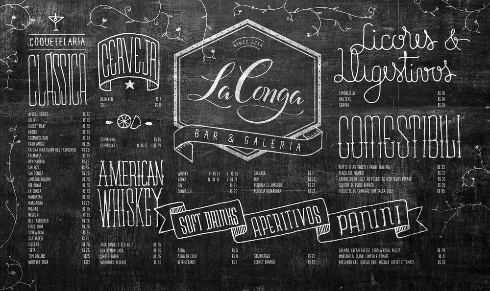 Branding and Calligraphy for LaConga Bar Gallery