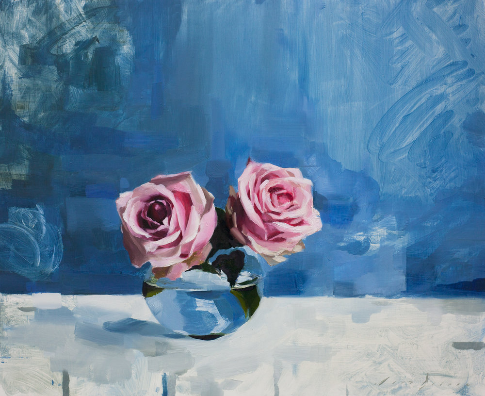 Pink Roses and Blue