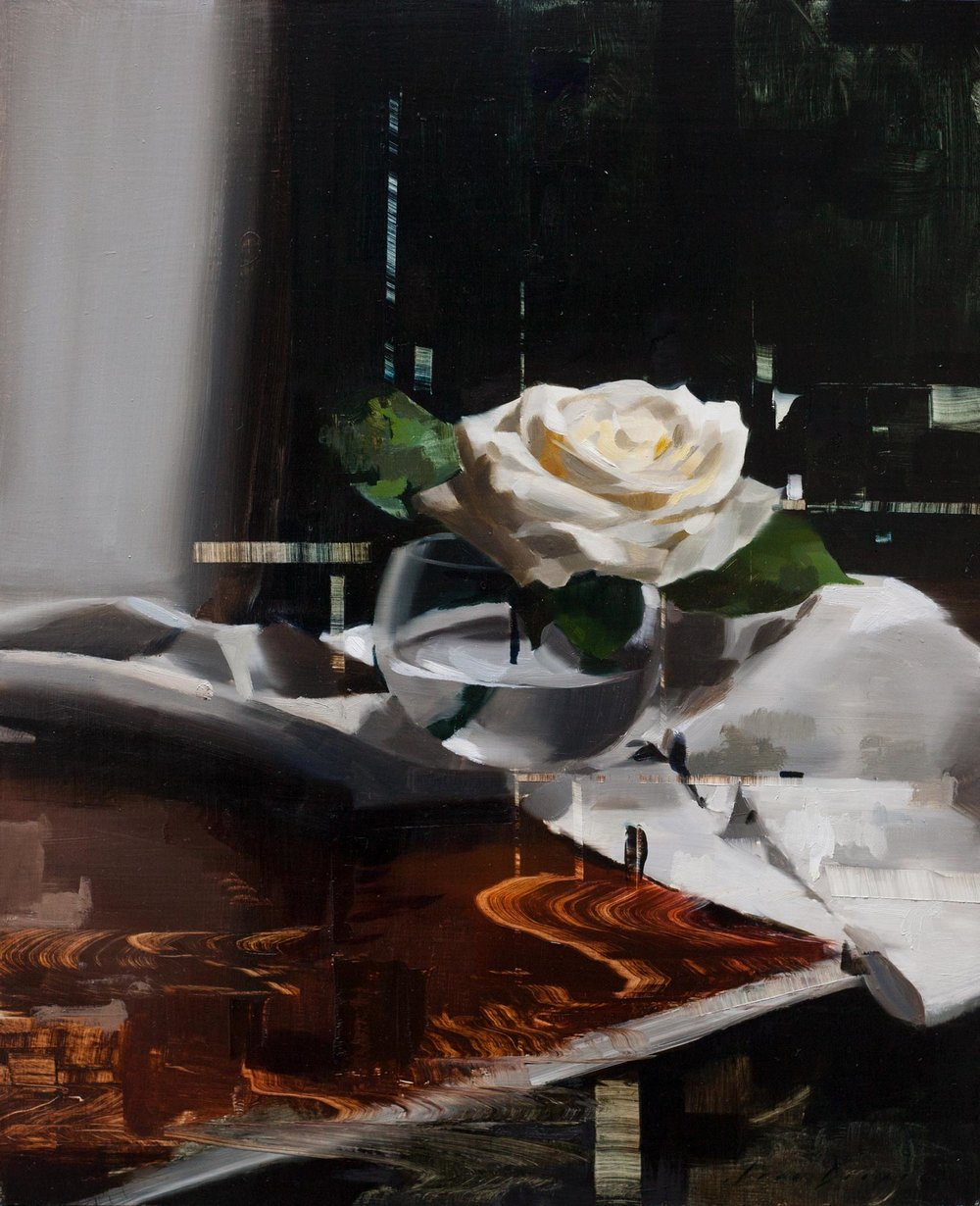 Rose on Table with Linen