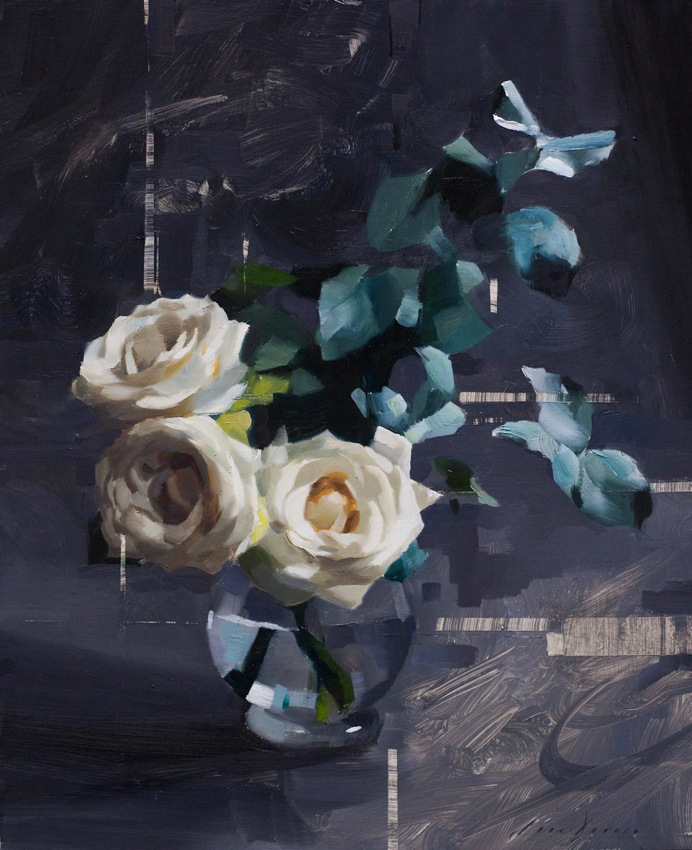 Three Roses and Eucalyptus