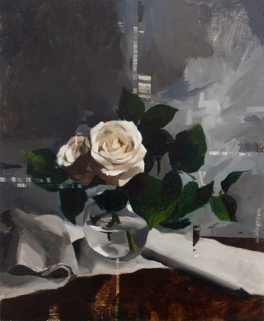 White Roses and Linen on the Table