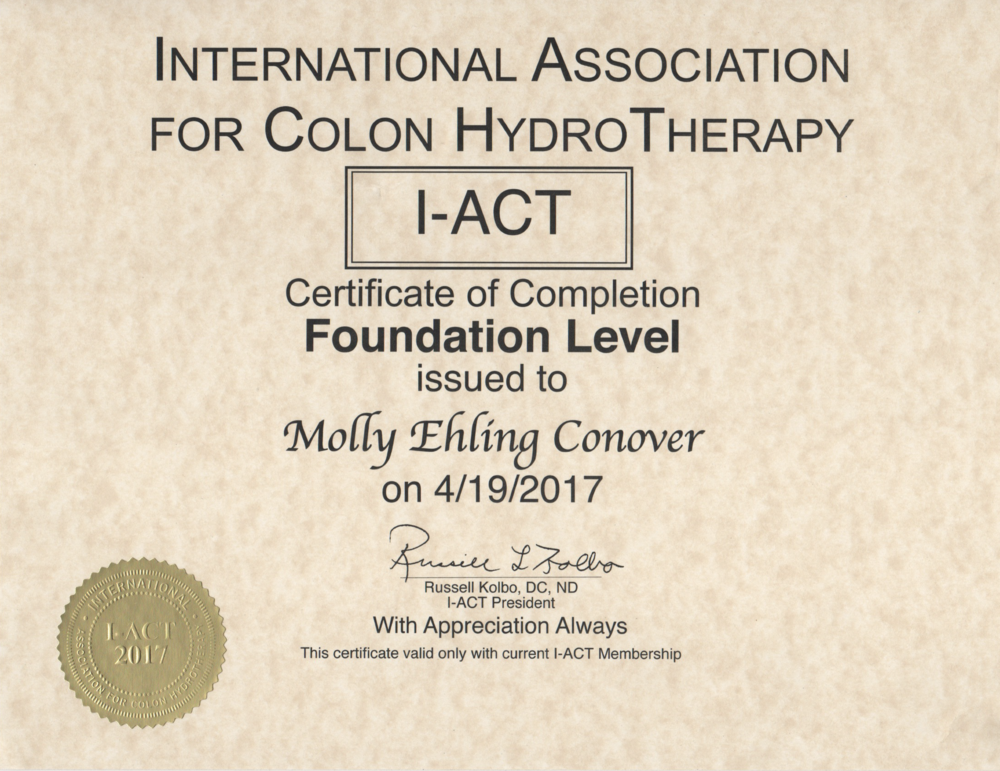 I-ACT Foundation Level Certification, Molly E. Conover