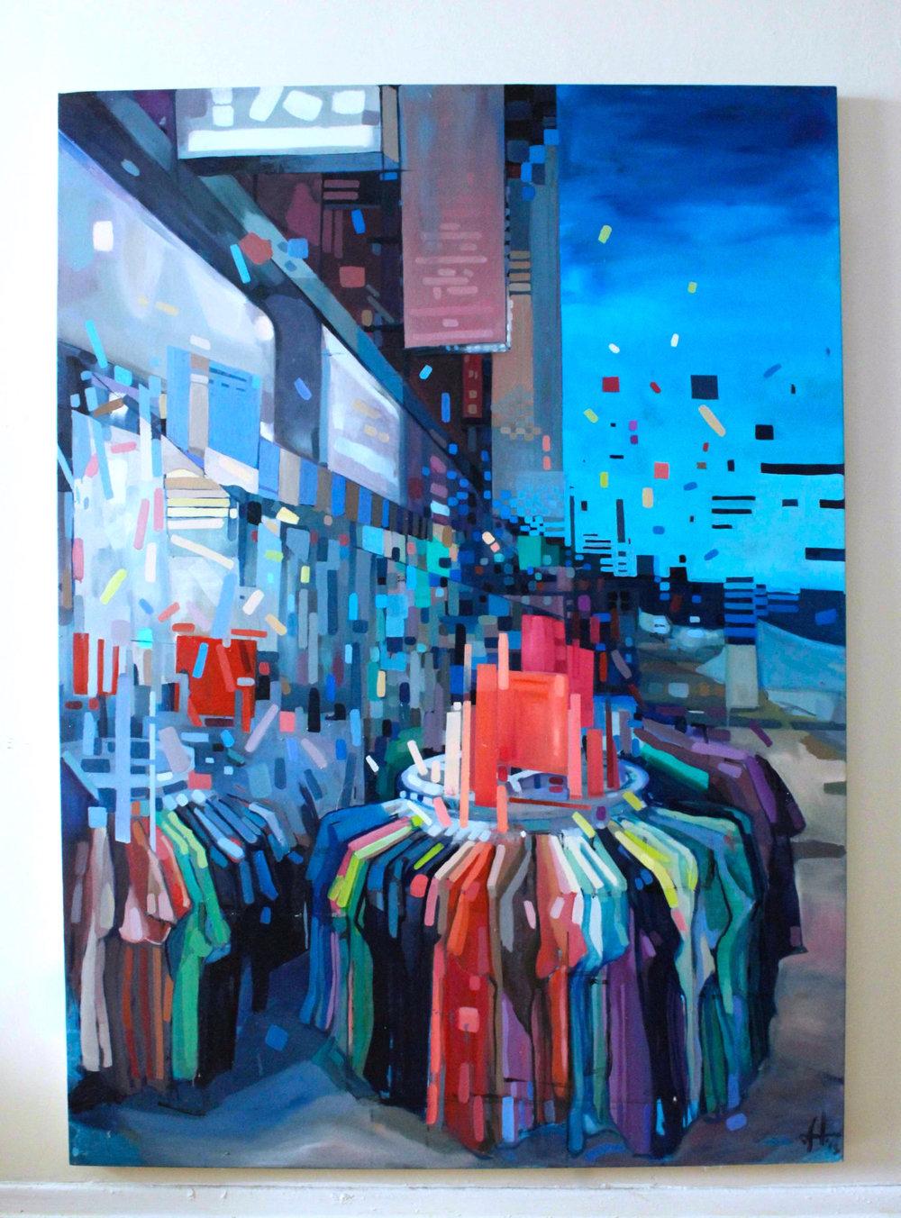 Copy of Summer in Kensington Market, 2014. Oil on canvas. 6'x4'