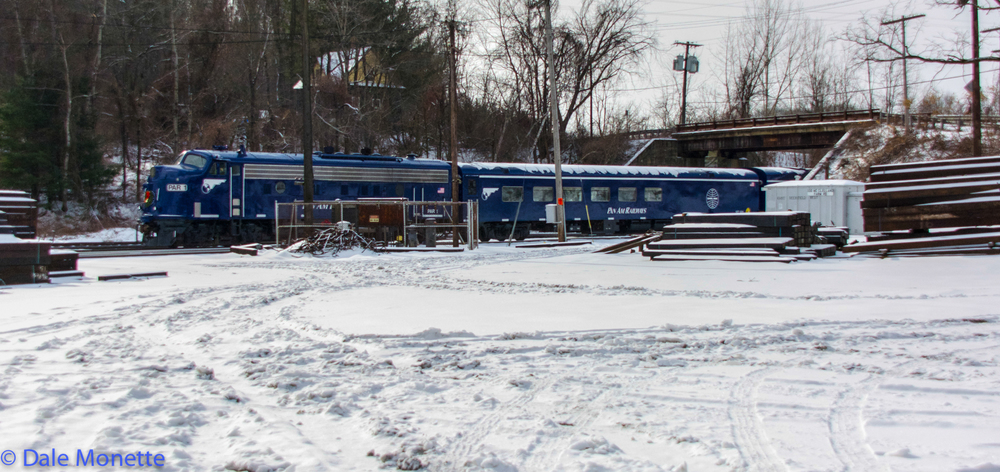 Pan Am F unit on passenger coaches, East Deerfield MA  12/14