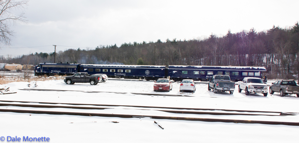 Pan Am F unit with coaches in East Deerfield yard, 12/14