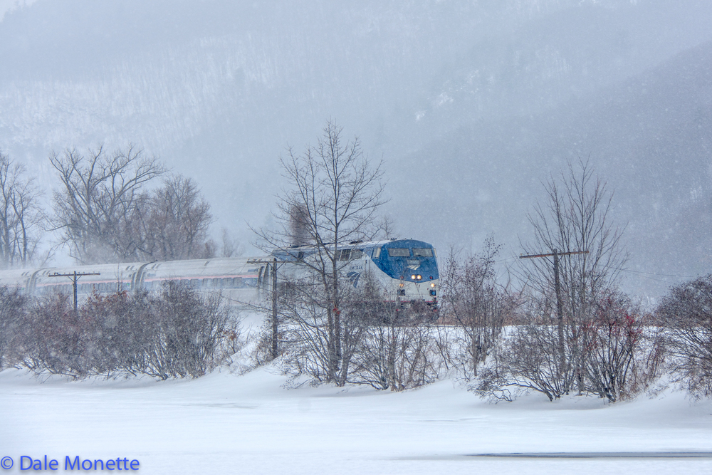 Amtrak Vermonter through Brattleboro in storm 2/15