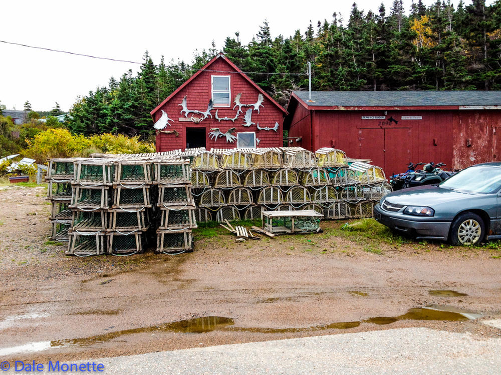 Lobster season in the small fishing village of White Point. By the looks of the barn its this guy hunts moose antlers laying on the ground in the off season.