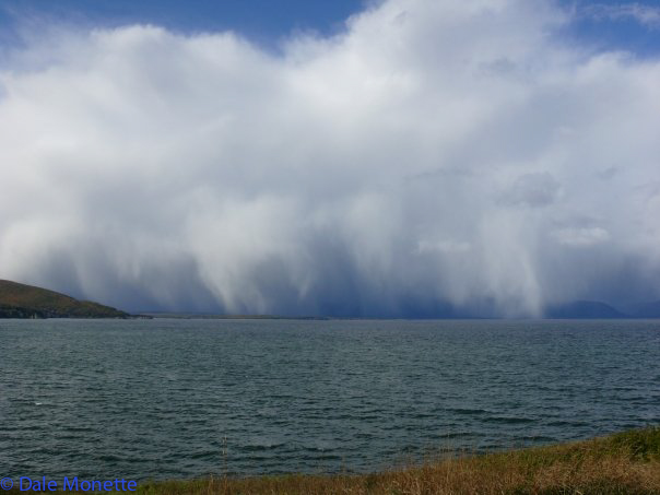 A storm is coming across Aspy Bay…...