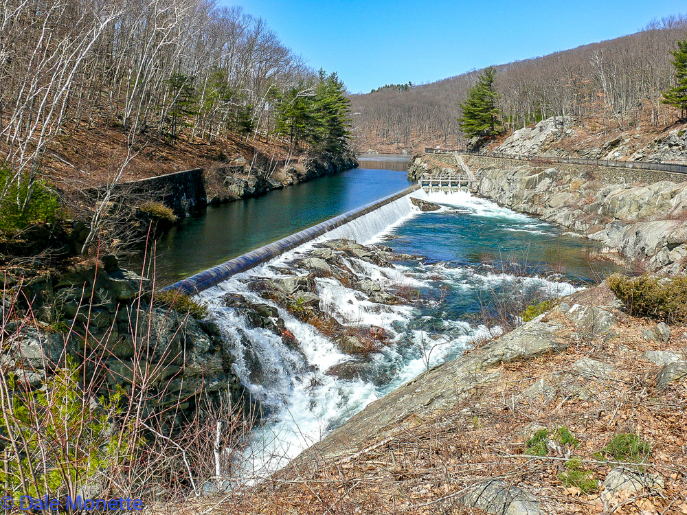Water runs over the spillway when the Quabbin reaches full capacity which is 530 feet above sea level.