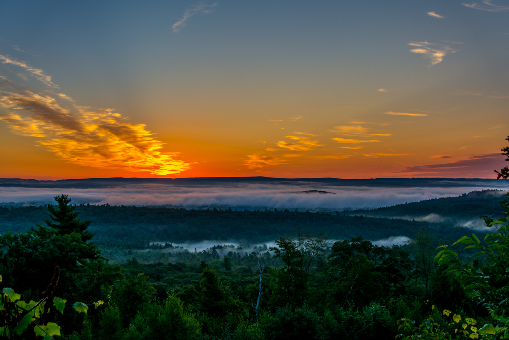 Sunrise from the Quabbin lookout in New Salem on RT 202.  8/5/15