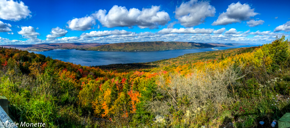 An iPhone pano shot looking down on the Saint Ann's Bay on Cape Breton.  10/17/15