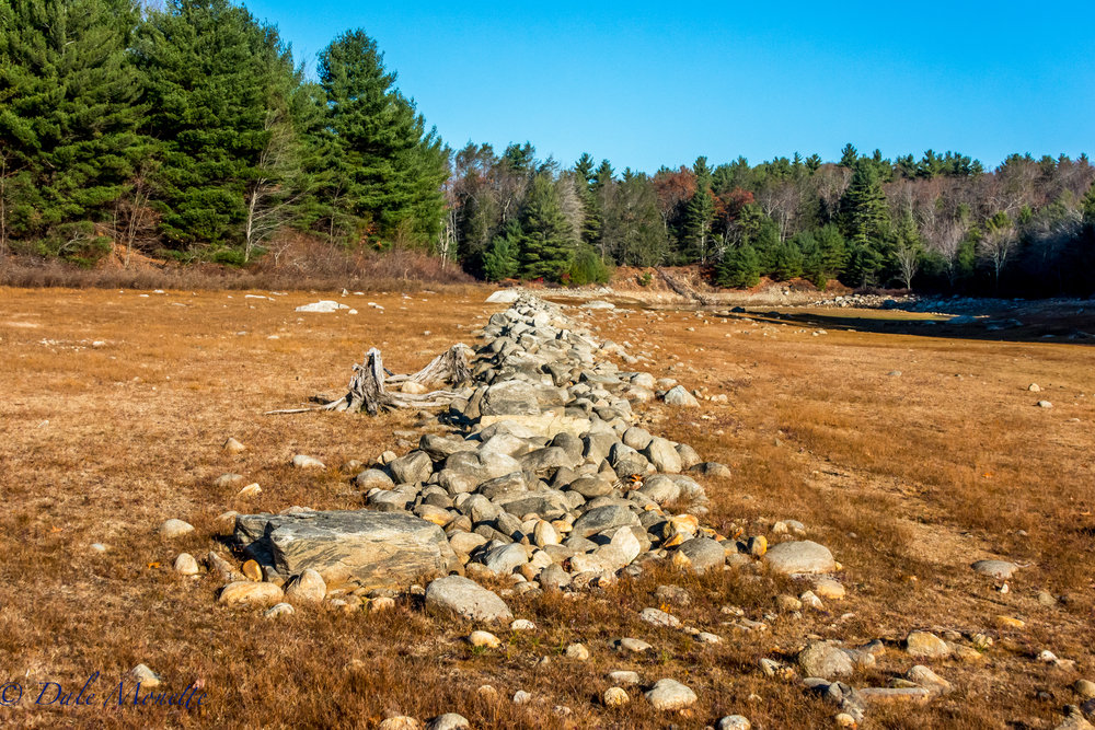 A look at how low the water is in the Quabbin Reservoir. This is where the mouth of the east branch of the Fever Brook dumps into the Reservoir way back in the distance. Notice the old stonewall now out of water.  11/18/16