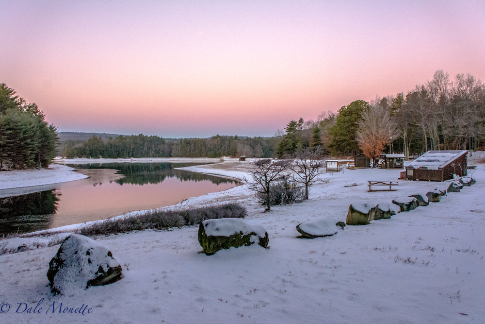Quabbin fishing area 2 in New Salem sits silent and all snugged up for the winter months at 6:45 AM on December 6th, 2016.  Fishing will resume at the Quabbin in early April, 2017.