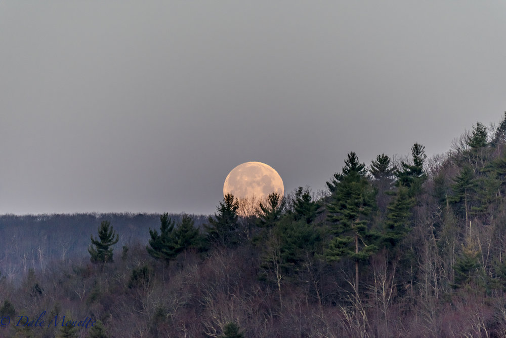 Quabbin Valley moon over New Salem.  4/11/17