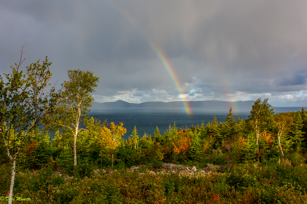 Did you know Cape Breton has the most rainbows per year in the world?  I watched this one form into a double rainbow over the Aspy Bay this morning then head right towards me before disappearing. You can see the rain falling around it.  10/12/17