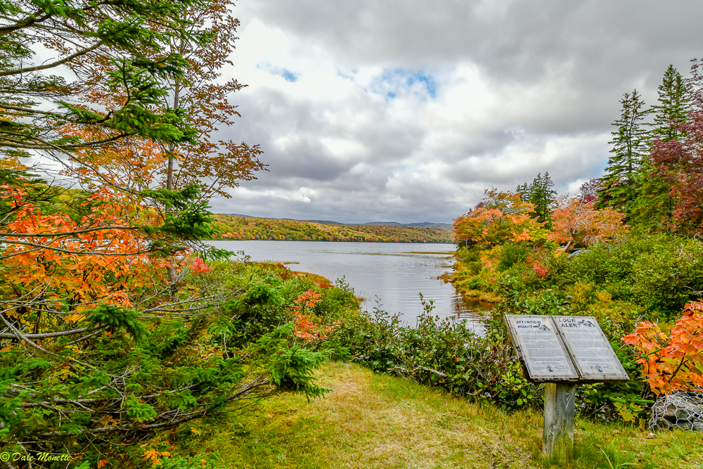 Lake Warren, Cape Breton Highlands, Nova Scotia….awesome foliage this year…. you can see a loon informational poster off to the lower right. Loons nest on this lake.