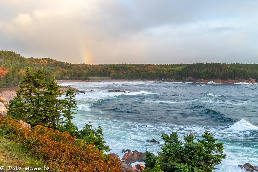 Black Brook Cove on the Cabot Trail, Cape Breton, Nova Scotia. Because of the weather systems up there, Cape Breton has the most rainbows a year in the world !