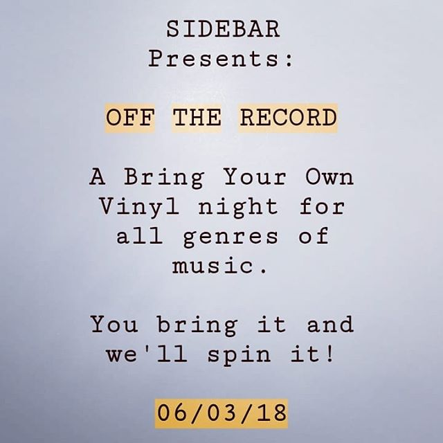 Hey everyone! This Sunday we are beginning a weekly B.Y.O.V. series starting at 9 p.m. hosted by @edgarallanpoboyy Come by and share your favorite records with other vinyl lovers!