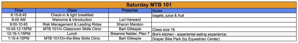 Saturday MTB 101