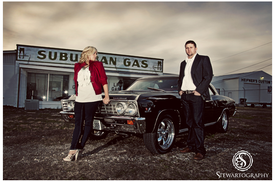 Classic Chevell Engagement Shoot - Old Car, Vintage Gas Station