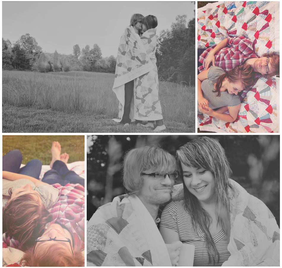 Vintage Quilt Engagement Photo
